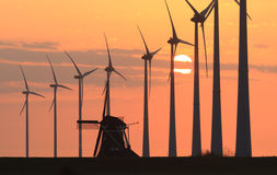 Windmills @ sunset Stock Image