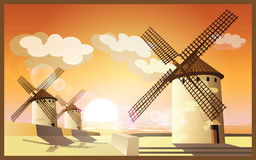 Windmills at sunset Royalty Free Stock Photography