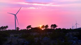 Windmills in sunset Stock Photos