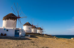 Windmills - a symbol of the island of Mykonos Royalty Free Stock Photo