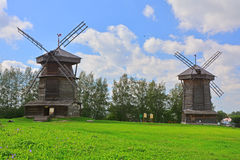 Windmills of 18th century in museum of wooden architecture in Suzdal, Russia Stock Photography