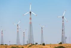Windmills at Thar desert in Rajasthan Stock Image
