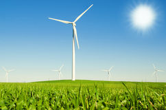 Windmills to generate wind power Royalty Free Stock Photos
