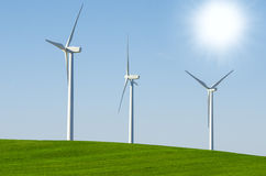 Windmills to generate wind power Stock Photos