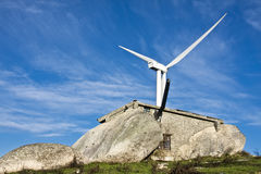 Windmills in the top of a montain Royalty Free Stock Photography