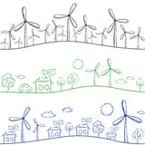 Windmills and town seamless pattern Stock Photo