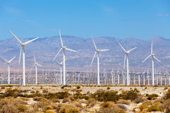 Windmills turbines for electric power production, Palm Sprigs, California. Simple of clean energy Royalty Free Stock Photography