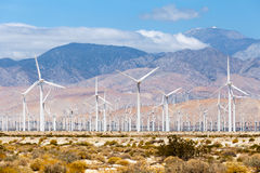 Windmills turbines for electric power production, Palm Sprigs, California. Simple of clean energy Stock Photo
