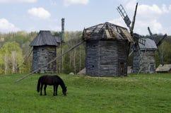 Windmills in Ukrainian village Royalty Free Stock Photos