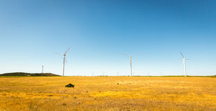 Windmills in the valley Royalty Free Stock Images