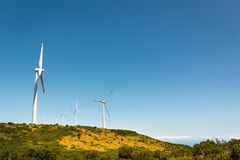 Windmills in the valley Royalty Free Stock Photos