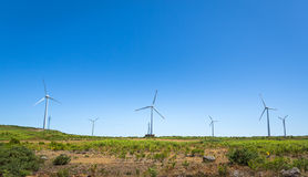 Windmills in the valley Stock Photos