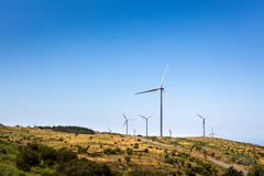 Windmills in the valley Royalty Free Stock Photo