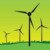 Windmills vector illustration on green grass Royalty Free Stock Photo
