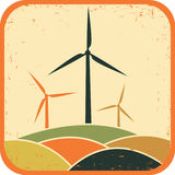 Windmills. Vector illustration. In vintage style Stock Images