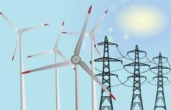 Windmills vs electric tower. Energy saving concept Stock Photo