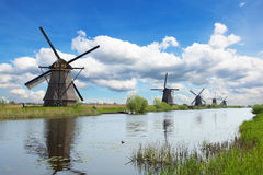 Windmills and water canal in Kinderdijk Royalty Free Stock Photography