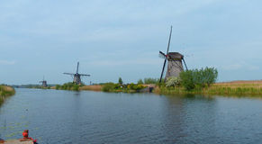 Windmills and waters of Kinderdijk Royalty Free Stock Photo