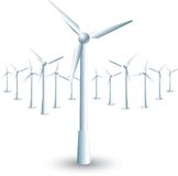 Windmills on white background Royalty Free Stock Photo
