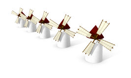 Windmills on white background stock illustration