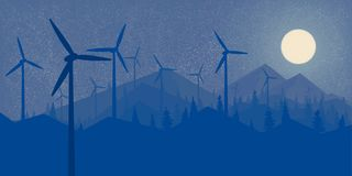 Free Windmills Wind Power Night Forest And The Mountains Big Full Moon Wallpaper Landscape In The Style Of Flet Vector Illustration Stock Image - 132731801