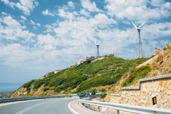 Windmills, wind turbines for electric power Stock Photo