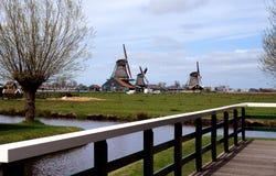 Windmills. Windmill in Zaanse Schans ethnographic museum in Netherlands stock photo