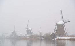 Windmills in winter Royalty Free Stock Photo