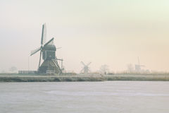 Windmills in Winter. The windmills of the Munnikenpolder near Leiderdorp the Netherlands in a winters mood Royalty Free Stock Photography