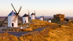Windmills With Castle, Consuegra, Castile-La Mancha, Spain Stock Image