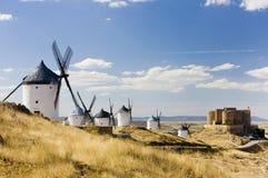 Windmills With Castle, Consuegra, Castile-La Mancha, Spain Royalty Free Stock Image