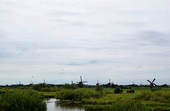 Windmills of the World Heritage Kinderdijk, Netherlands. Travelling to Holland visiting the windmill park of the World Heritage Kinderdijk royalty free stock images