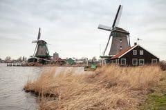 Windmills on the Zaan river coast, Holland Stock Photography