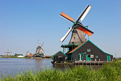 Windmills at Zaanse Schans. Windmills at the famous Zaanse Schans near Amsterdam, Netherlands Royalty Free Stock Image