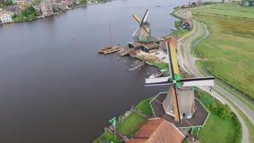 Windmills at the Zaanse Schans stock video footage