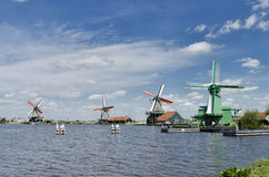 Windmills at Zaanse Schans, Amsterdam, Holland Stock Image