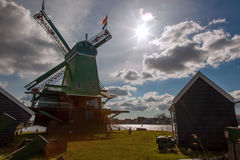 Windmills in Zaanse Schans, Amsterdam, Holland Royalty Free Stock Photo