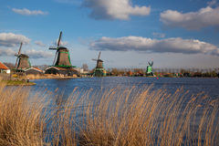 Windmills in Zaanse Schans, Amsterdam, Holland Stock Photos