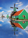 Windmills in Zaanse Schans, Amsterdam, Holland Stock Photography