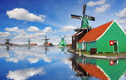 Windmills in Zaanse Schans, Amsterdam, Holland Royalty Free Stock Photography