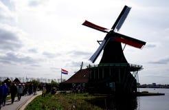 Windmills. In Zaanse Schans ethnographic museum in Netherlands royalty free stock photos