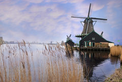 Windmills in Zaanse Schans, Holland Stock Photography
