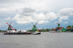 Windmills at the zaanse schans in Holland Stock Photo