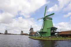 Windmills at Zaanse Schans Stock Photos