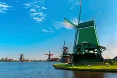 Windmills in Zaanse Schans, Holland, Netherlands Royalty Free Stock Photos