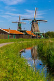 Windmills in Zaanse Schans, Holland, Netherlands Stock Image