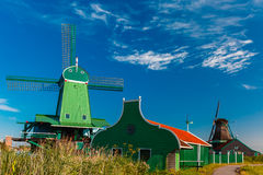 Windmills in Zaanse Schans, Holland, Netherlands Stock Photos