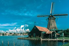 Windmills in Zaanse Schans, Holland, Netherlands Royalty Free Stock Image