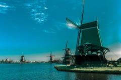 Windmills in Zaanse Schans, Holland, Netherlands Royalty Free Stock Photo