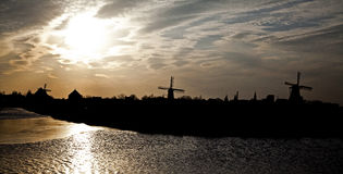 Windmills in Zaanse Schans museum Royalty Free Stock Image